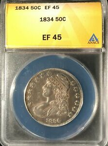 1834 Capped Bust Half Dollar == ANACS XF-45 == Great Look == FREE SHIPPING !