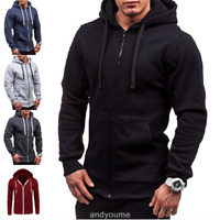Men's Casual Slim Jacket Thermal Hoodie Sweatshirt Outwear Thermal Zip Coat