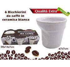Set 6 Bicchieri Bicchierini Caffè Bianche Ceramica 7x7cm Effetto Ammaccato moc