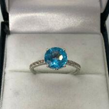 9ct White Gold Hallmarked Blue Topaz & Cubic Zirconia Ring. Goldmine Jewellers.