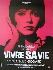 VIVRE SA VIE Affiche cinéma ROULEE / Rolled Movie poster 53x40 Jean-Luc Godard