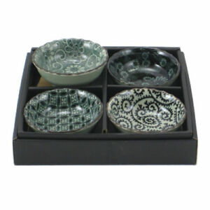 "SET of 4 Japanese 3.5""D Mashiko Sushi Soy Sauce Dipping Dish Bowls Made in Japan"