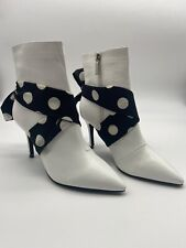 Shellys London Women's White Heeled boots with black polka dot bow Uk 5 us 38