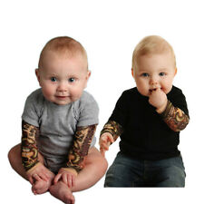 Newborn Baby Boys Tattoo Printed Long Sleeve Patchwork Romper Autumn Bodysuit