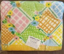 """Vintage Acrylic Cannon Floral Plaid Bed Blanket Spring Pastel 72"""" x 90"""" Nos"""