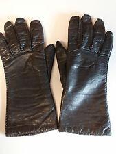 Vintage Philippine Made Dark Brown Cowhide Leather Ladies Driving Gloves Lined 7