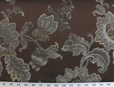 Drapery Upholstery Fabric Jacquard Floral - Taupe, Beige, Blue-Gray on Chocolate