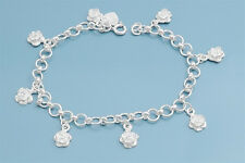 "Bracelet with Rose Charms Sterling Silver 925 Jewelry Gift 7"" adjust to 8"""