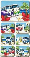 'Beach Kombi' Lisa Pollock Cork Backed Coasters - Set of 6 *NEW*