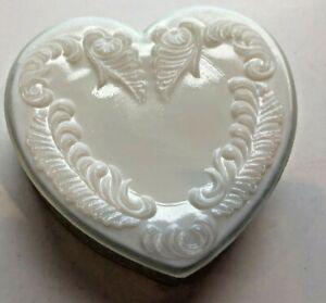 White Milk Glass Heart Trinket / Dresser Box ~ HTF