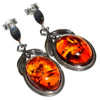 7.1g Authentic Baltic Amber 925 Sterling Silver Earrings Jewelry N-A8321B