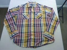 037 MENS NWOT ST GOLIATH GOLD / NAVY / BERRY FADE CHECK L/S SHIRT LRG $110 RRP.