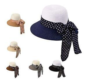 Miuno® Damen Strohhut Sonnenhut Sommer Glocke Hut mit Schleife H51056