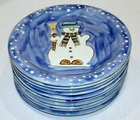 """Set of 10 TABLETOPS UNLIMITED Christmas Let It Snow Snowman Dinner Plates 10.5"""""""