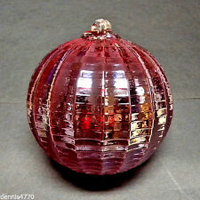 "Hanging Glass Ball 4"" Diameter Ruby Red Ridged Witch Ball (1) HGB15"
