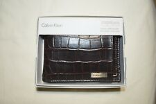 New Calvin Klein Ck Men's Leather Wallet Id Billfold BROWN 79491