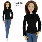 ELENPRIV FA015-01 black jersey cotton T-shirt with long sleeves for Barbie dolls