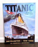"Titanic White Star Line Tin Sign Wall Art 12.5"" x 16"", Southampton - New York"