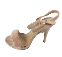Womens Ladies Beige Faux Suede High Heel Strappy Shoes Sandals Size UK 5 New