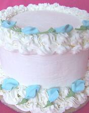 "80 -1 /1/4"" Baby Blue Rosebud Royal Icing Cupcake Cake Topper Sugar Rose Flowers"