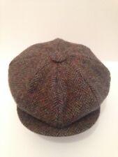 HERRINGBONE HARRIS TWEED HAT 100% WOOL NEWSBOY VICTORIAN PEAKY BLINDERS CAP