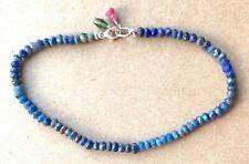 rare Lapis Lazuli bracelet stack layering beaded blue gems gemstone strand 14k