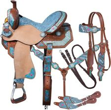 Leather Western Barrel Racing Adult Horse Saddle Size 14-18 Inches Seat