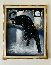BLACK PANTHER ,HAND PAINTED, WATERFALL ,  VELVET PAINTING,18
