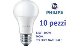 SET DA 10 LAMPADINA LED PHILIPS 13W - 100W E27 840 4000K 1521LM LUCE NATURALE