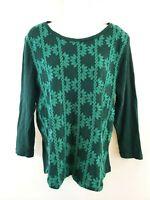 J Crew Women's 3/4 Sleeve Embroidered Tunic Top Size L 100% Cotton Green