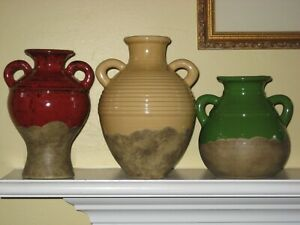 OLIVE JAR TRIO Tuscan Stoneware 3 Vases Yellow Green Red Southern Living $90