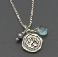 Silpada HTF Charmed Im Sure Necklace N2336 Sterling Silver Pearl Glass Blue RARE