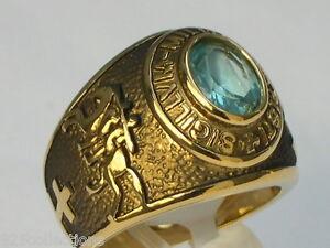 9x7 mm Knights Templar Masonic Mason March Stone Aqua Marine Men Ring Size 8