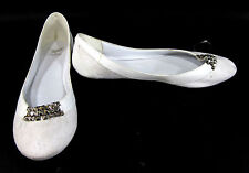 Shiekh Shoes Flat Studed Suede Classic Slipper Heels Cream Size 11