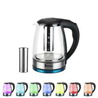 Electric Kettle Glass Water Boiler Fast Boiling Tea Kettle 1.8L Stainless LED