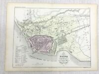 1853 Antique French Map Le Havre Normandy France Hand Coloured Engraving