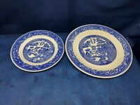 Vintage Royal China  Willow Ware Round Serving Platter & Dinner Plate USA