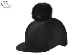 Elico Aberford Black Pom Pom Lycra Riding Hat Cover Silk Horse Pony FREE P&P