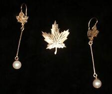 Vintage Elegant Leaf Brooch Pin Earrings Solid 14kt Gold Pearls