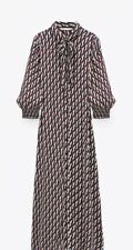 ZARA Long Geometric Printed Shirt Dress With Tie Pussy Bow Size L  sold out