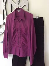 GITANE Purple Gathered Designer Long Sleeve Shirt Top 16 14 Corporate Stretch