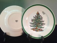 """Spode (2) New Christmas Tree 7.75"""" Salad Plates Dishes S3324-A7"""