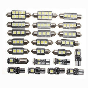 23x White LED Interior Lights Bulbs Kit Dome License Plate Lamps Car Accessories