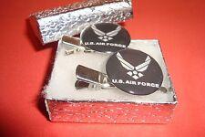 #2 (1 pair) U.S.Air Force Black design Silver Tone Hair Clips - Barrettes / New