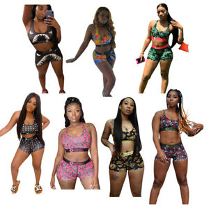 Women Sexy Two Piece Outfits Sports sets elastic Bodycon Sweatsuit Shorts Sets C
