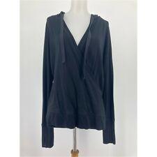 Athleta Sweatshirt Inner Twist Hoodie Faux Wrap V Neck Solid Black Size Medium