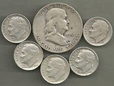 Franklin Half Dollar & Roosevelt Dimes- 90% Silver- Us Coin Lot - 6 Coins #4177