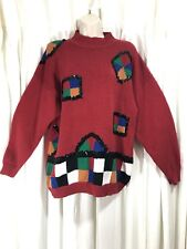 VTG Ugly Christmas Sweater Sequined Geometric Color Block Size M