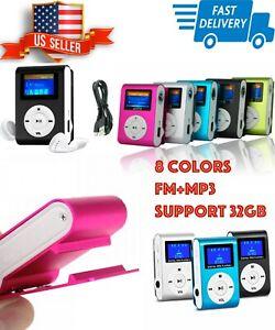 MP3 Player With Digital LCD Screen Mini Clip Support 32GB Micro SD TF (FM)