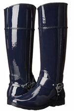 Michael Kors Navy Blue Rubber Fulton Harness Rain Boots Women's Size 10 NO BOX